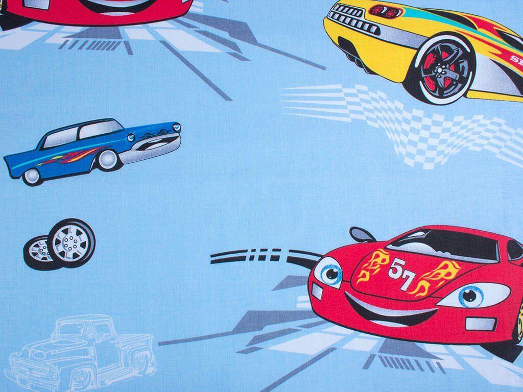 922e6cd4c6be Bavlněná látka SIMONA - vzor 634 auta na modrém - metráž š. 160cm ...