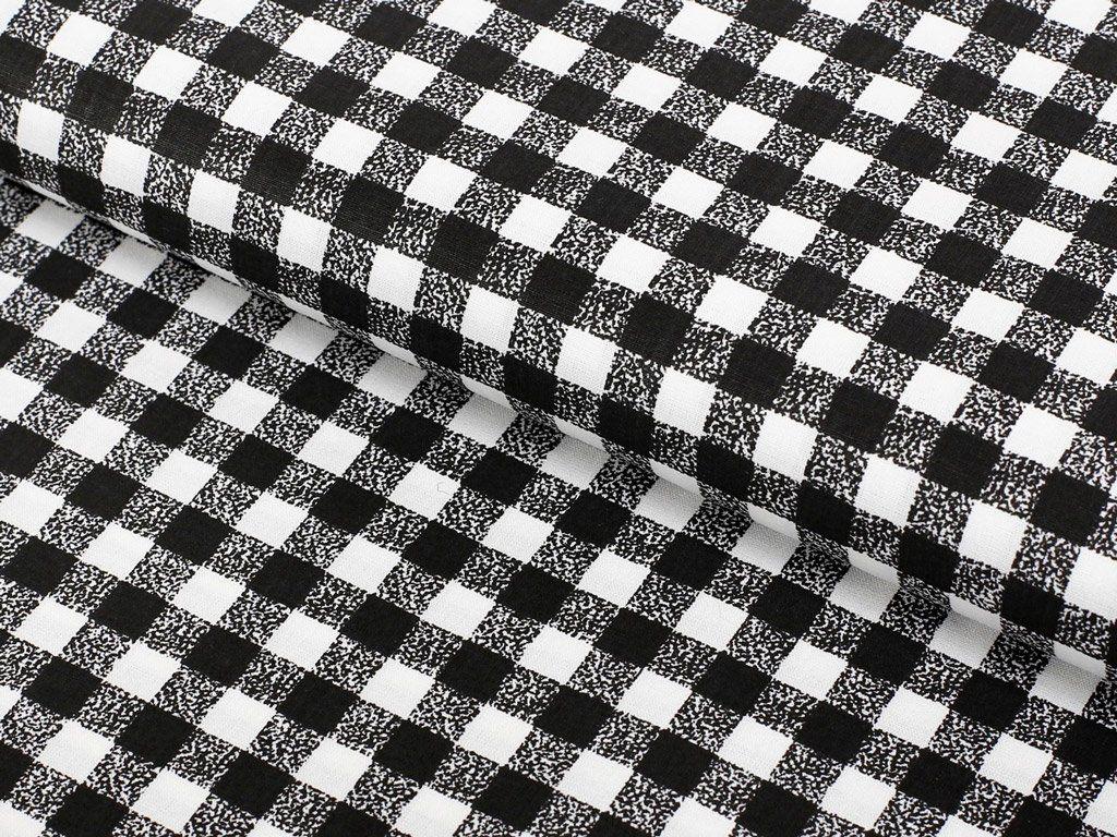 c903f54be6e7 Bavlněná látka SIMONA - vzor černobílé kostičky - metráž š. 150cm ...