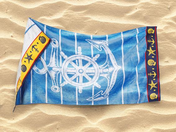 Plážová osuška modrá - vzor kormidlo s kotvou