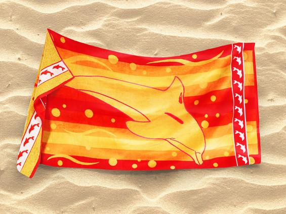 Plážová osuška oranžová - vzor delfín