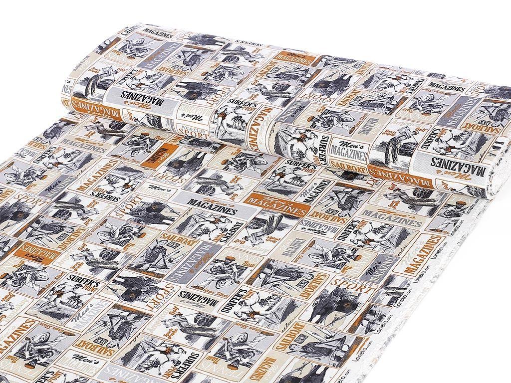 d2e3f80d35a6 Dekorační látka LONETA - SPORTOVNÍ NOVINY šířka 140
